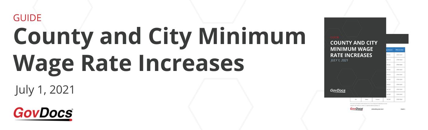 July 1, 2021 Minimum Wage Rates