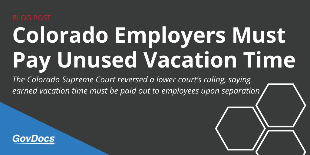 Colorado Unused Vacation Pay