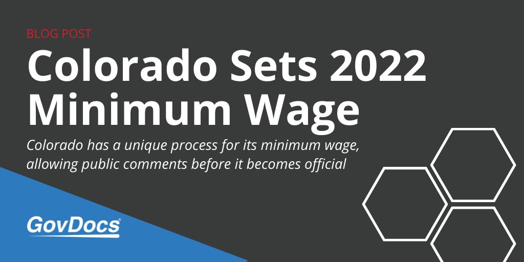 Colorado 2022 Minimum Wage