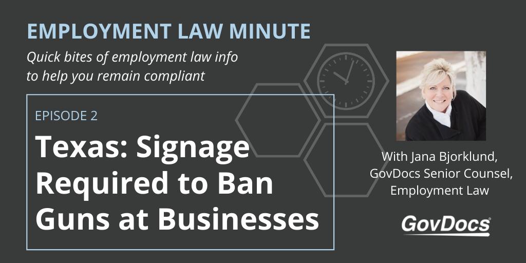 Texas gun law signage